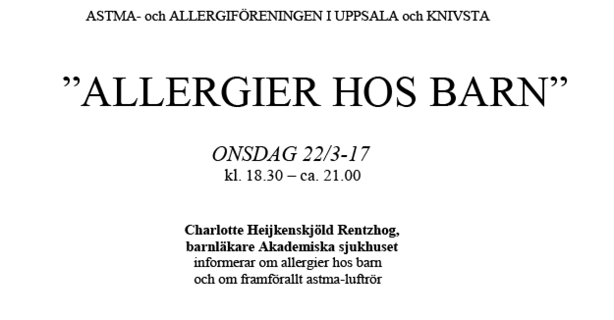 22 mars – Allergier hos barn