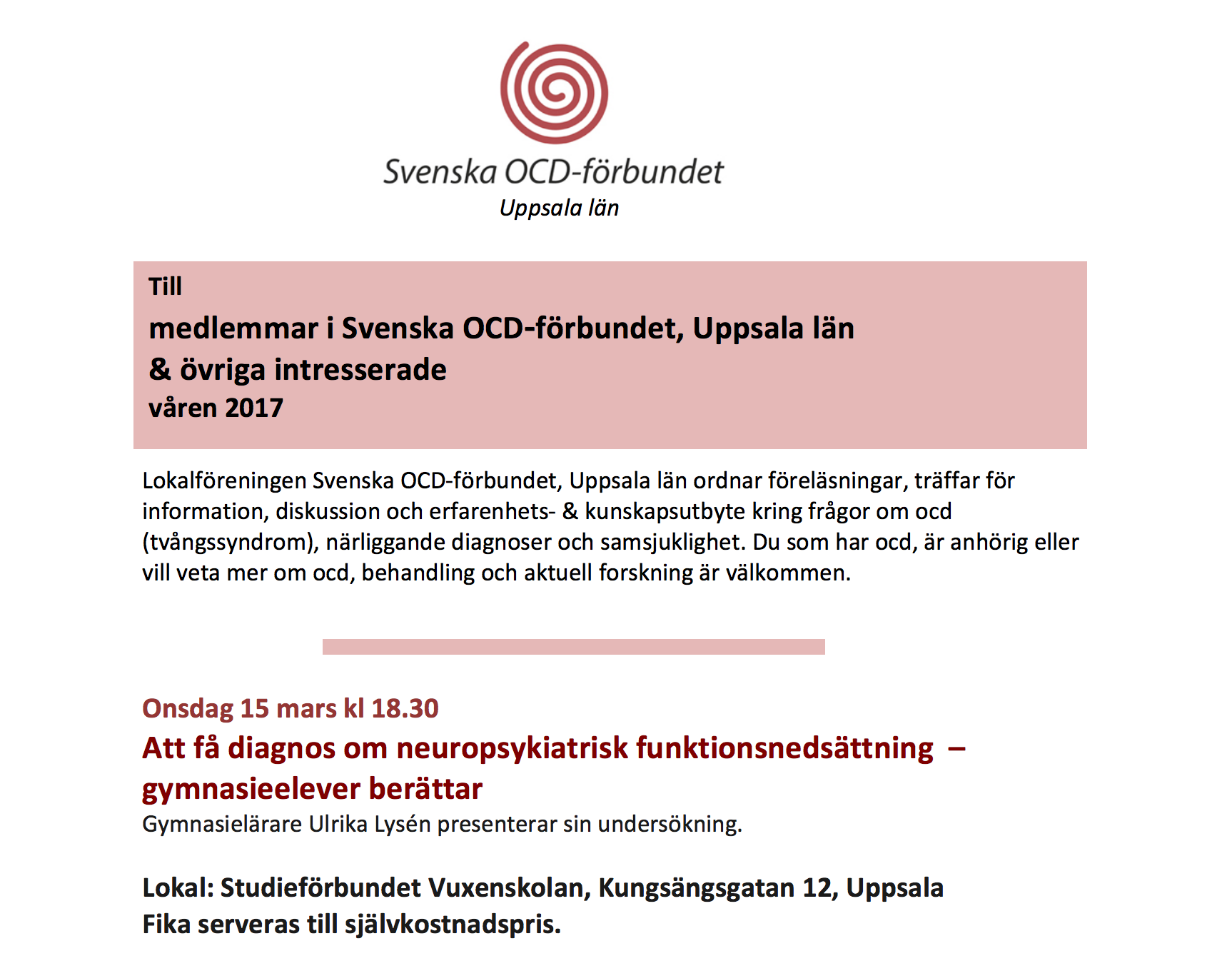 OCD-föreläsning – 15 mars