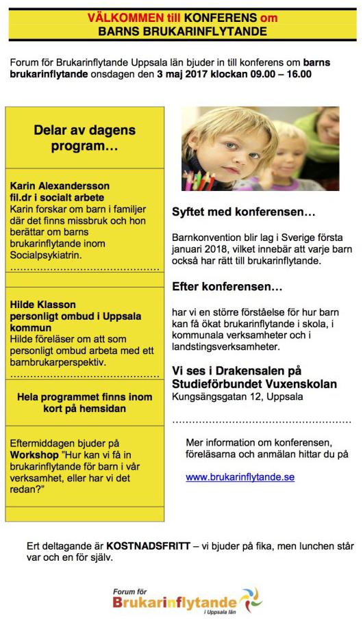 2 maj – Brukarkonferens om barns inflytande